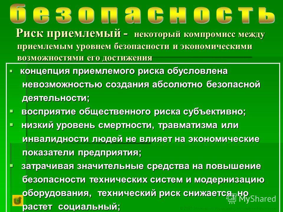 © 2007 Московский социально-гуманитарный институт Риск приемлемый - некоторый компромисс между приемлемым уровнем безопасности и экономическими возможностями его достижения Риск приемлемый - некоторый компромисс между приемлемым уровнем безопасности