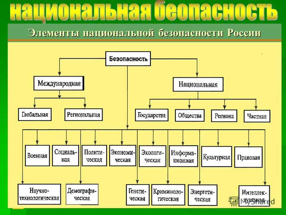 © 2007 Московский социально-гуманитарный институт Элементы национальной безопасности России