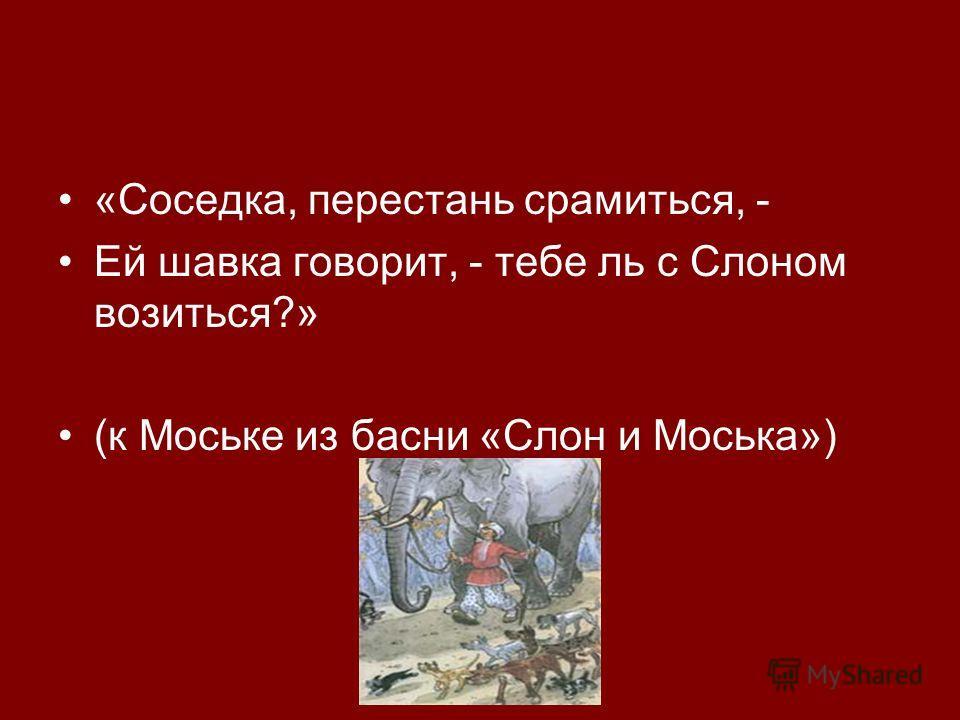 «Соседка, перестань срамиться, - Ей шавка говорит, - тебе ль с Слоном возиться?» (к Моське из басни «Слон и Моська»)