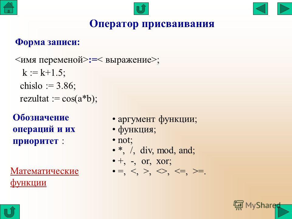 Оператор присваивания Форма записи: := ; k := k+1.5; chislo := 3.86; rezultat := cos(a*b); аргумент функции; функция; not; *, /, div, mod, and; +, -, or, xor; =,, , =. Обозначение операций и их приоритет : Математические функции