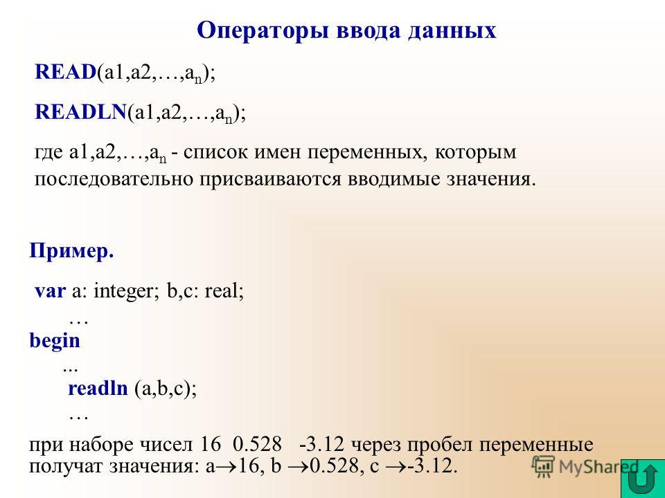 Операторы ввода данных READ(a1,a2,…,a n ); READLN(a1,a2,…,a n ); где a1,a2,…,a n - список имен переменных, которым последовательно присваиваются вводимые значения. Пример. var a: integer; b,c: real; … begin... readln (a,b,c); … при наборе чисел 16 0.