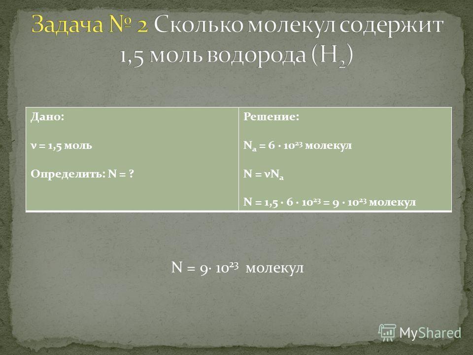 Дано: ν = 1,5 моль Определить: N = ? Решение: N а = 6 · 10 23 молекул N = νN а N = 1,5 · 6 · 10 23 = 9 · 10 23 молекул N = 9· 10 23 молекул