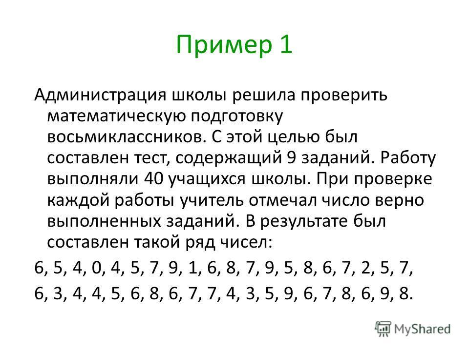 Пример 1 Администрация школы решила проверить математическую подготовку восьмиклассников. С этой целью был составлен тест, содержащий 9 заданий. Работу выполняли 40 учащихся школы. При проверке каждой работы учитель отмечал число верно выполненных за
