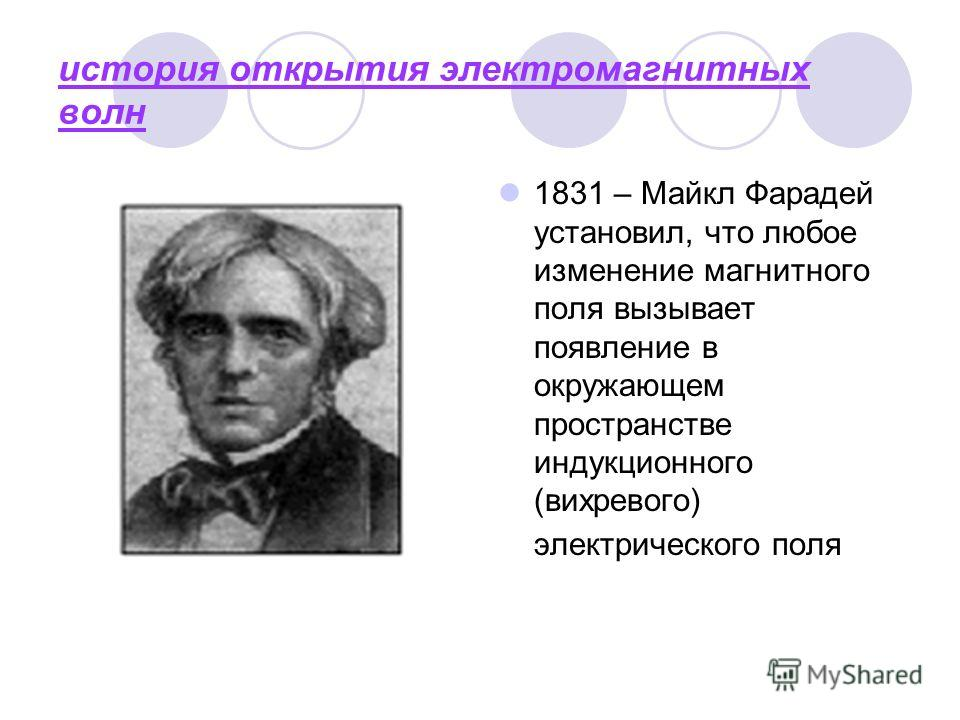 история открытия электромагнитных волн 1831 – Майкл Фарадей установил, что любое изменение магнитного поля вызывает появление в окружающем пространстве индукционного (вихревого) электрического поля