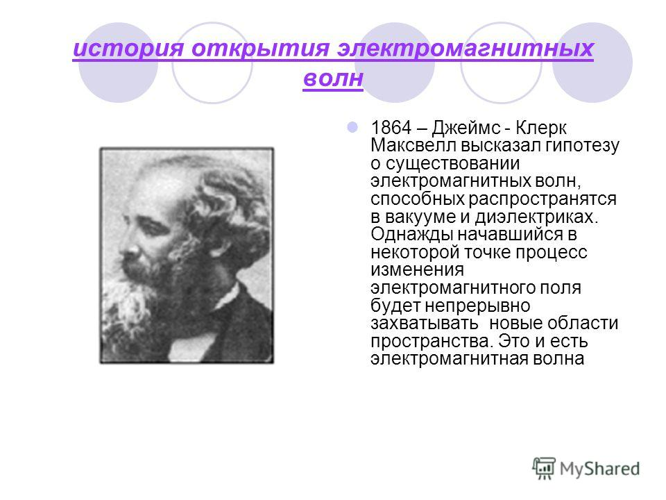история открытия электромагнитных волн 1864 – Джеймс - Клерк Максвелл высказал гипотезу о существовании электромагнитных волн, способных распространятся в вакууме и диэлектриках. Однажды начавшийся в некоторой точке процесс изменения электромагнитног