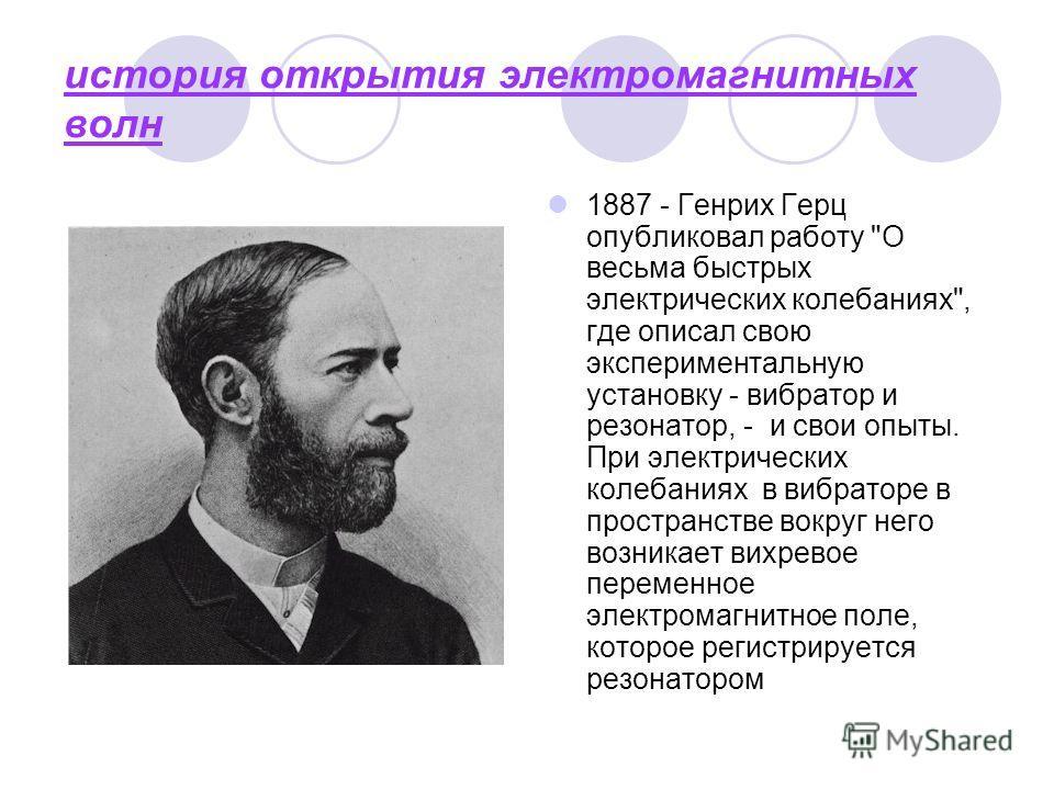 история открытия электромагнитных волн 1887 - Генрих Герц опубликовал работу