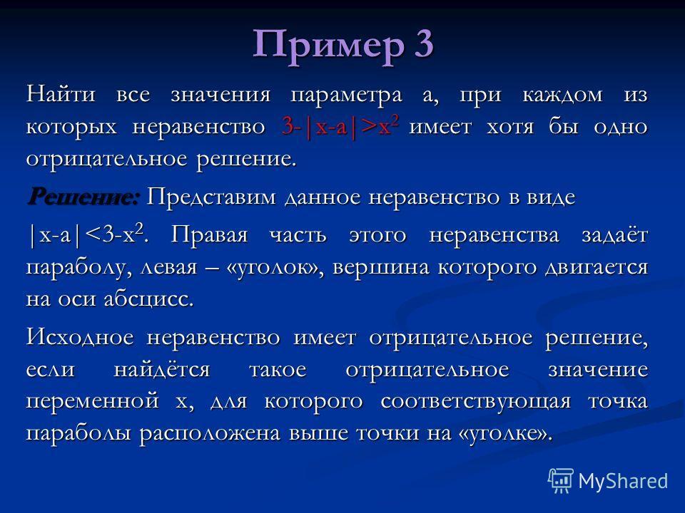 Пример 3 Найти все значения параметра а, при каждом из которых неравенство 3-|x-a|>x 2 имеет хотя бы одно отрицательное решение. Решение: Представим данное неравенство в виде |x-a|