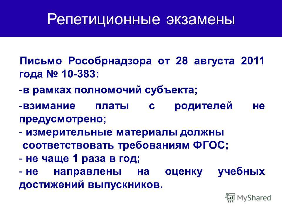 Репетиционные экзамены Письмо Рособрнадзора от 28 августа 2011 года 10-383: -в рамках полномочий субъекта; -взимание платы с родителей не предусмотрено; - измерительные материалы должны соответствовать требованиям ФГОС; - не чаще 1 раза в год; - не н