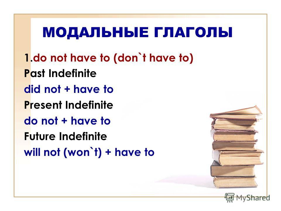 МОДАЛЬНЫЕ ГЛАГОЛЫ 1.do not have to (don`t have to) Past Indefinite did not + have to Present Indefinite do not + have to Future Indefinite will not (won`t) + have to