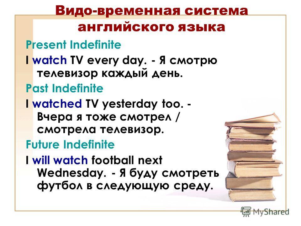 Видо-временная система английского языка Present Indefinite I watch TV every day. - Я смотрю телевизор каждый день. Past Indefinite I watched TV yesterday too. - Вчера я тоже смотрел / смотрела телевизор. Future Indefinite I will watch football next