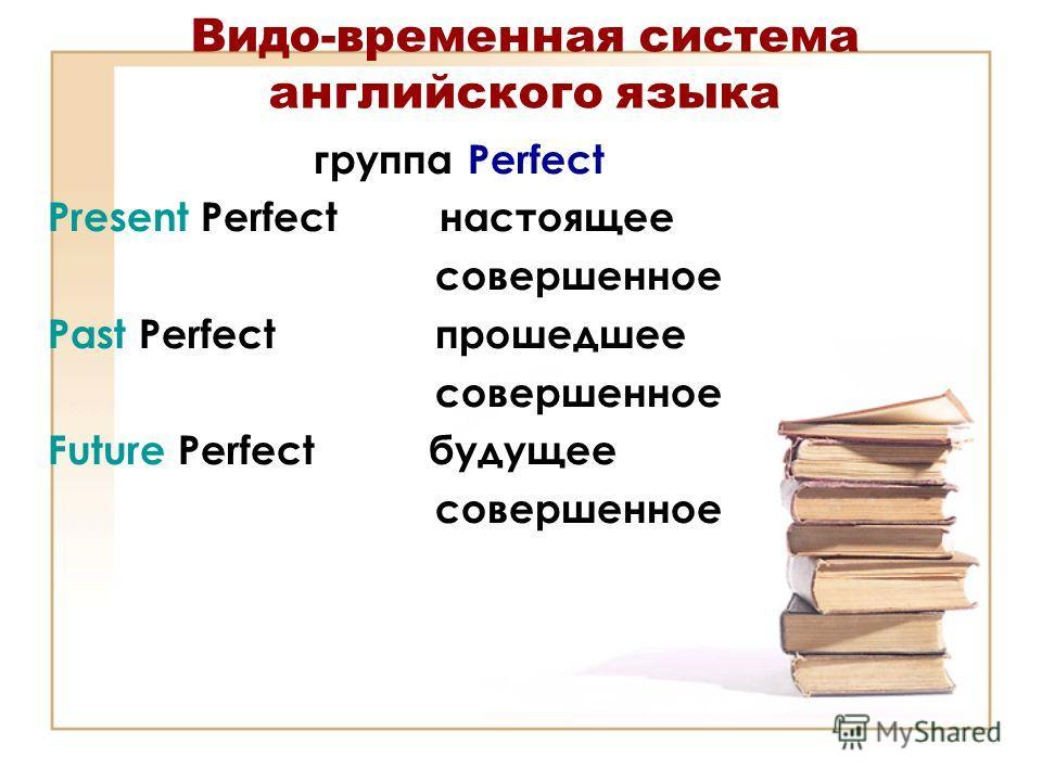 Видо-временная система английского языка группа Perfect Present Perfect настоящее совершенное Past Perfect прошедшее совершенное Future Perfect будущее совершенное