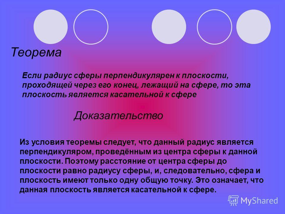 Теорема Если радиус сферы перпендикулярен к плоскости, проходящей через его конец, лежащий на сфере, то эта плоскость является касательной к сфере Из условия теоремы следует, что данный радиус является перпендикуляром, проведённым из центра сферы к д