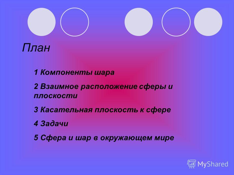План 1 Компоненты шара 2 Взаимное расположение сферы и плоскости 3 Касательная плоскость к сфере 4 Задачи 5 Сфера и шар в окружающем мире