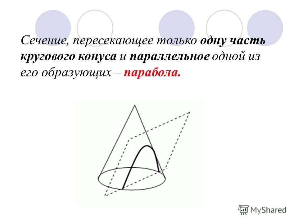 Сечение, пересекающее только одну часть кругового конуса и параллельное одной из его образующих – парабола.
