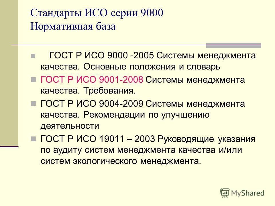 Стандарты ИСО серии 9000 Нормативная база ГОСТ Р ИСО 9000 -2005 Системы менеджмента качества. Основные положения и словарь ГОСТ Р ИСО 9001-2008 Системы менеджмента качества. Требования. ГОСТ Р ИСО 9004-2009 Системы менеджмента качества. Рекомендации