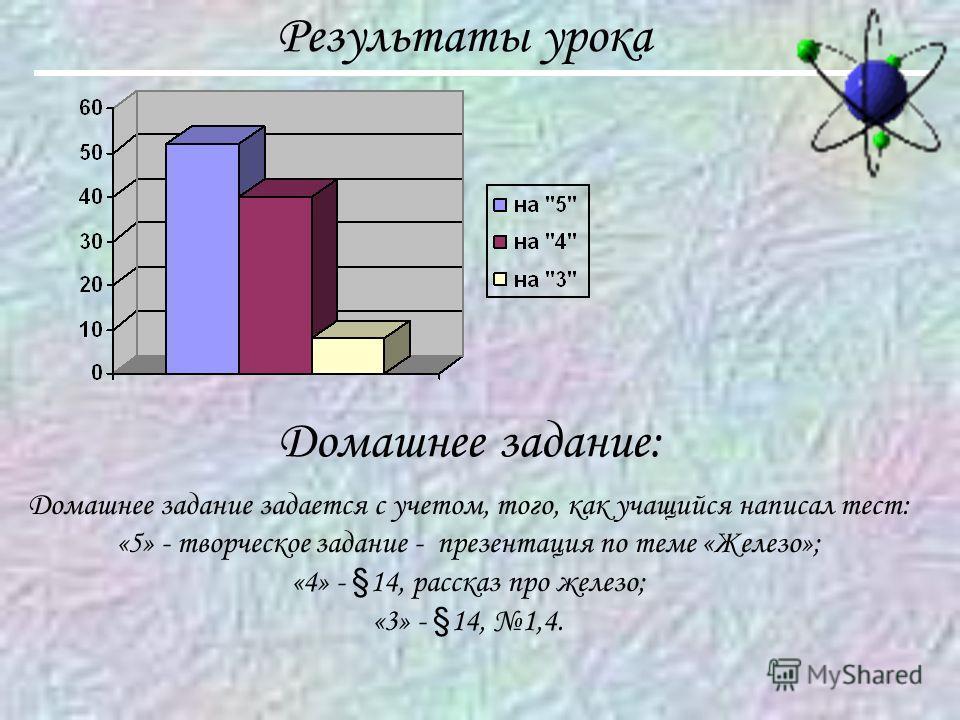Результаты урока Домашнее задание: Домашнее задание задается с учетом, того, как учащийся написал тест: «5» - творческое задание - презентация по теме «Железо»; «4» - §14, рассказ про железо; «3» - §14, 1,4.
