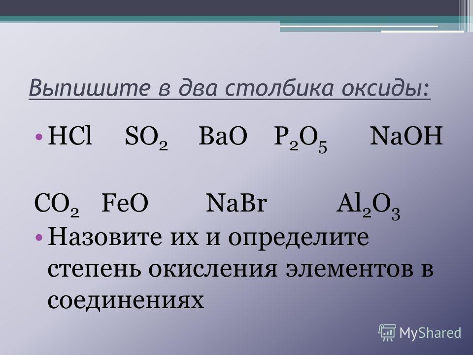 Выпишите в два столбика оксиды: HCl SO 2 BaO P 2 O 5 NaOH CO 2 FeO NaBr Al 2 O 3 Назовите их и определите степень окисления элементов в соединениях