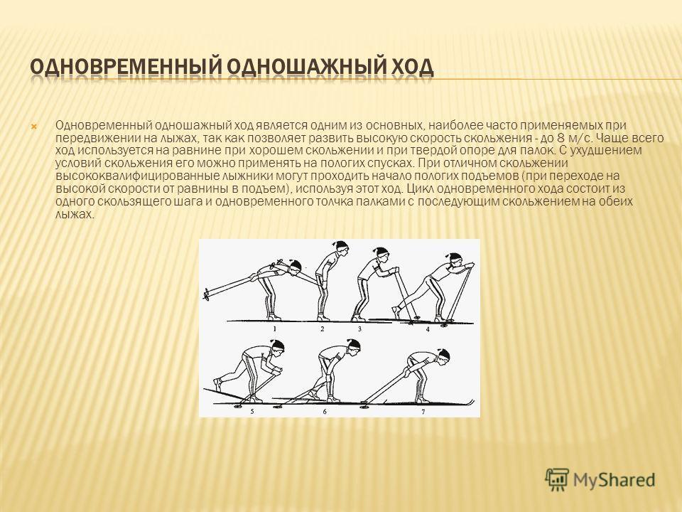 Одновременный одношажный ход является одним из основных, наиболее часто применяемых при передвижении на лыжах, так как позволяет развить высокую скорость скольжения - до 8 м/с. Чаще всего ход используется на равнине при хорошем скольжении и при тверд