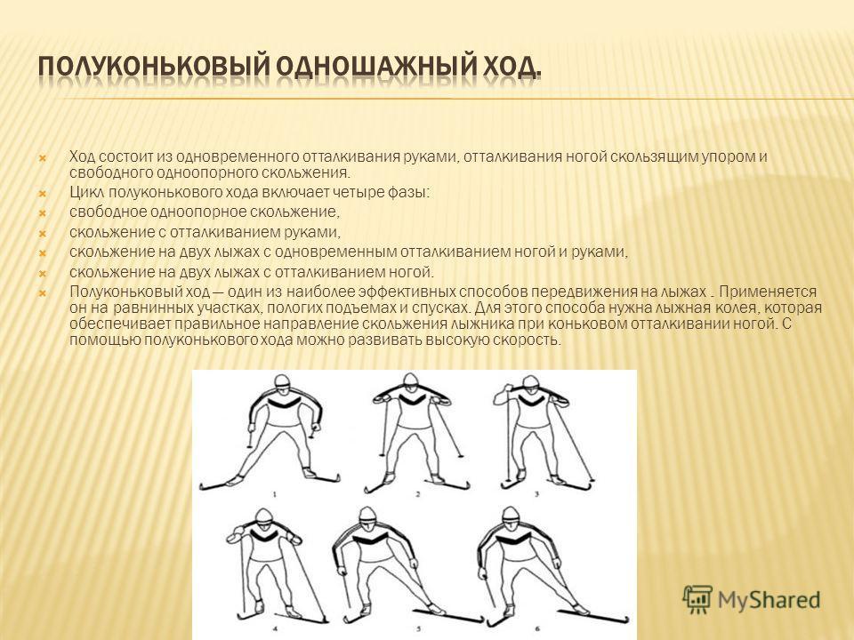 Ход состоит из одновременного отталкивания руками, отталкивания ногой скользящим упором и свободного одноопорного скольжения. Цикл полуконькового хода включает четыре фазы: свободное одноопорное скольжение, скольжение с отталкиванием руками, скольжен
