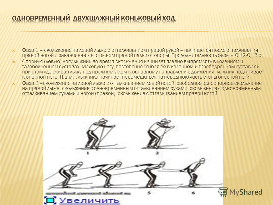 Фаза 1 – скольжение на левой лыже с отталкиванием правой рукой – начинается после отталкивания правой ногой и заканчивается отрывом правой палки от опоры. Продолжительность фазы – 0,12-0,15 с. Опорную (левую) ногу лыжник во время скольжения начинает
