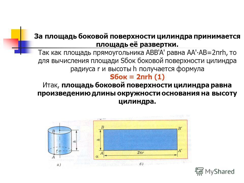 За площадь боковой поверхности цилиндра принимается площадь её развертки. Так как площадь прямоугольника АВВ'A' равна AA'AB=2πrh, то для вычисления площади Sбок боковой поверхности цилиндра радиуса r и высоты h получается формула Sбок = 2πrh (1) Итак