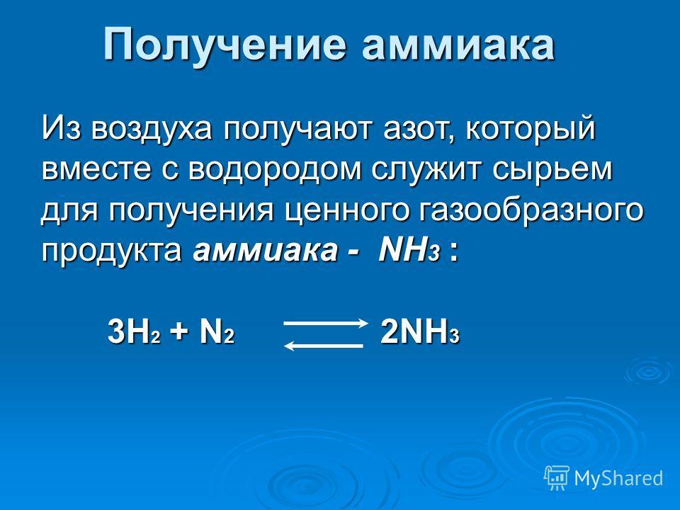 Получение аммиака Из воздуха получают азот, который вместе с водородом служит сырьем для получения ценного газообразного продукта аммиака - NH 3 : 3H 2 + N 2 2NH 3 3H 2 + N 2 2NH 3