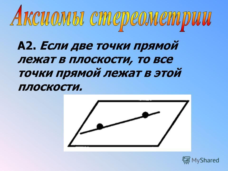 A2. Если две точки прямой лежат в плоскости, то все точки прямой лежат в этой плоскости.