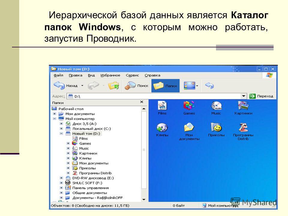 Иерархической базой данных является Каталог папок Windows, с которым можно работать, запустив Проводник.