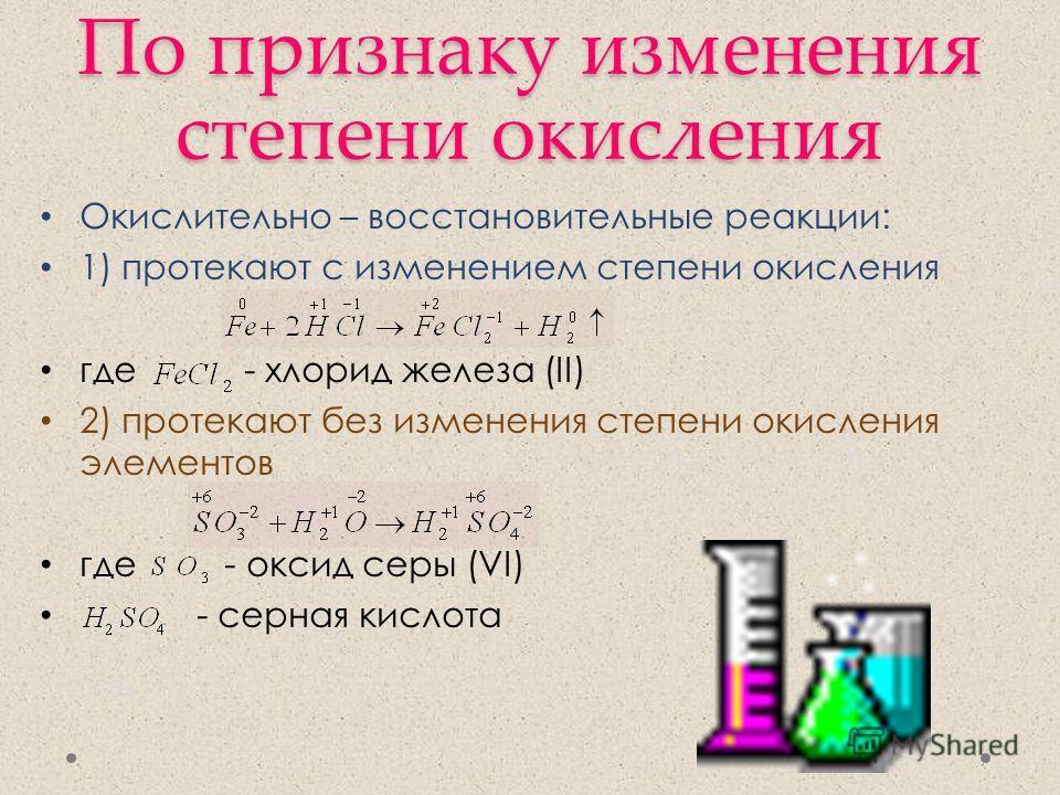 По признаку изменения степени окисления Окислительно – восстановительные реакции: 1) протекают с изменением степени окисления где - хлорид железа (II) 2) протекают без изменения степени окисления элементов где - оксид серы (VI) - серная кислота