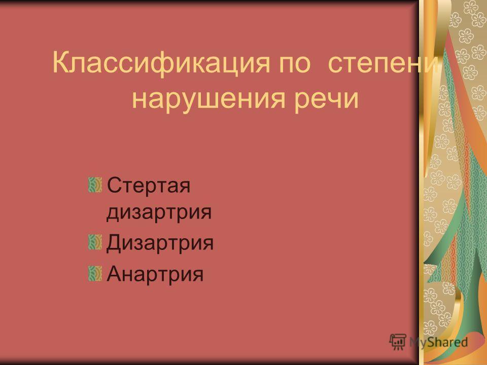 Классификация по степени нарушения речи Стертая дизартрия Дизартрия Анартрия