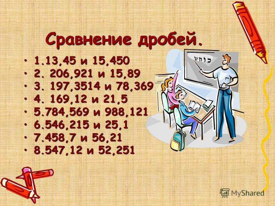 Сравнение дробей. 1.13,45 и 15,4501.13,45 и 15,450 2. 206,921 и 15,892. 206,921 и 15,89 3. 197,3514 и 78,3693. 197,3514 и 78,369 4. 169,12 и 21,54. 169,12 и 21,5 5.784,569 и 988,1215.784,569 и 988,121 6.546,215 и 25,16.546,215 и 25,1 7.458,7 и 56,217