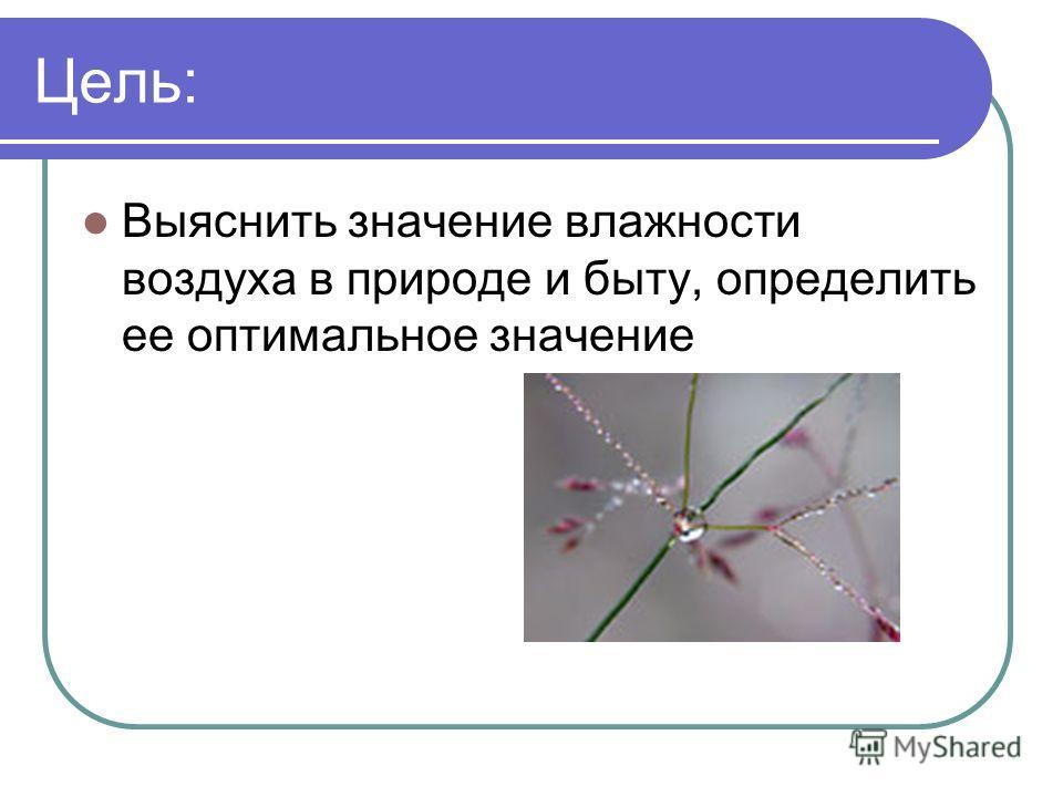 Цель: Выяснить значение влажности воздуха в природе и быту, определить ее оптимальное значение