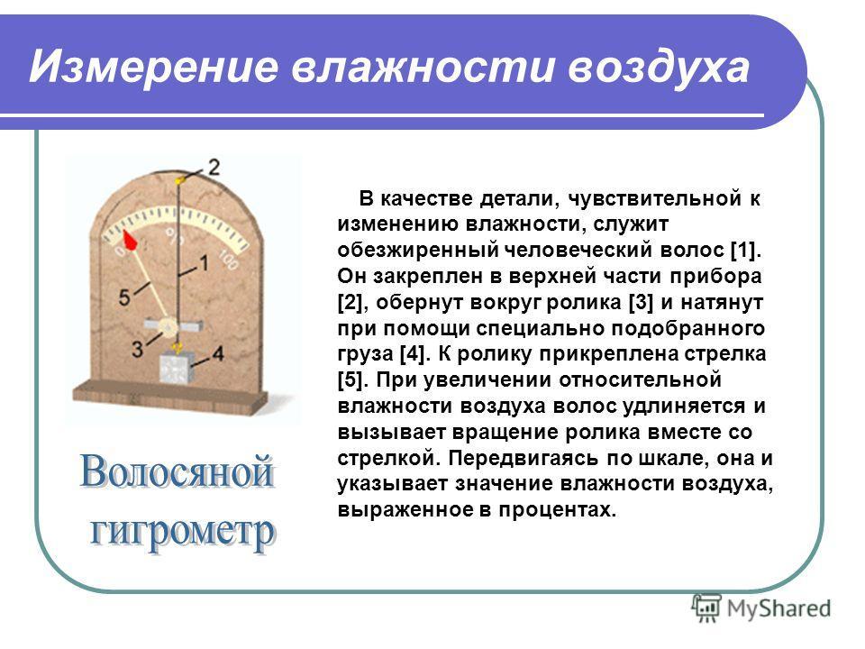 Измерение влажности воздуха В качестве детали, чувствительной к изменению влажности, служит обезжиренный человеческий волос [1]. Он закреплен в верхней части прибора [2], обернут вокруг ролика [3] и натянут при помощи специально подобранного груза [4