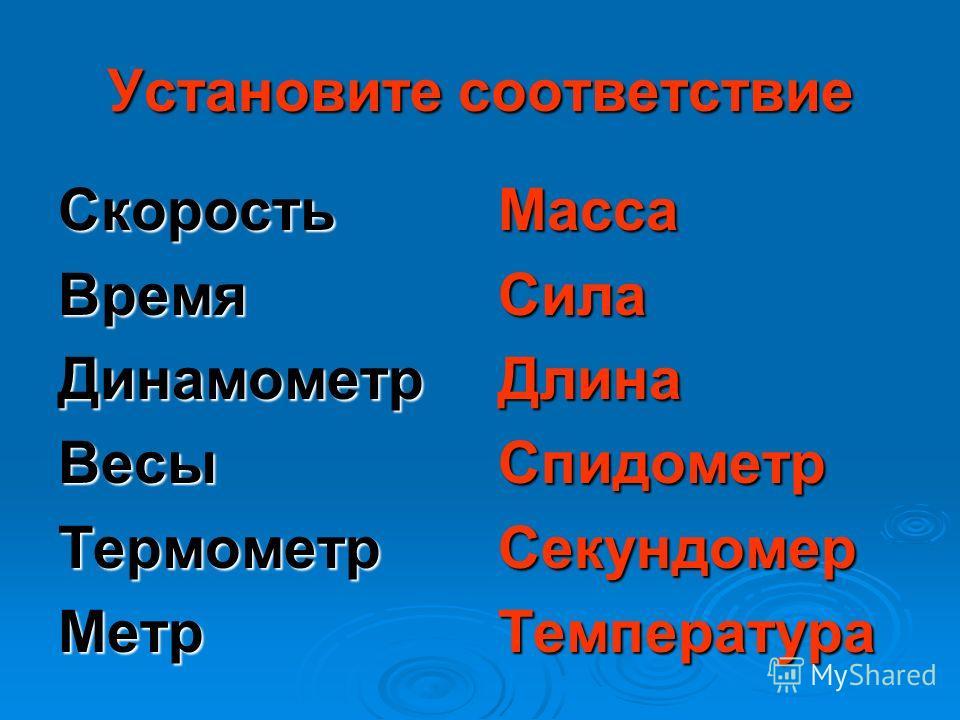 Установите соответствие СкоростьВремяДинамометрВесыТермометрМетрМассаСилаДлинаСпидометрСекундомерТемпература