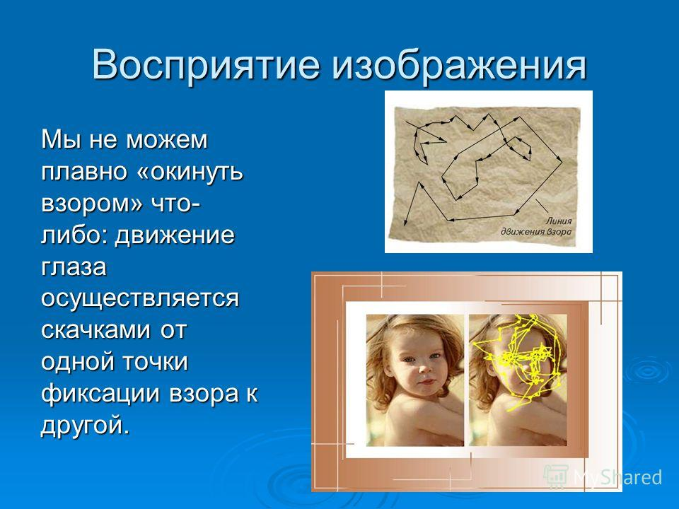 Восприятие изображения Мы не можем плавно «окинуть взором» что- либо: движение глаза осуществляется скачками от одной точки фиксации взора к другой.