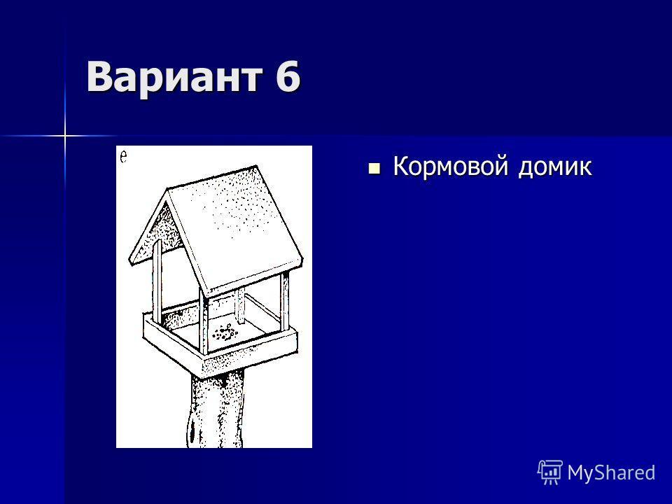 Вариант 6 Кормовой домик Кормовой домик
