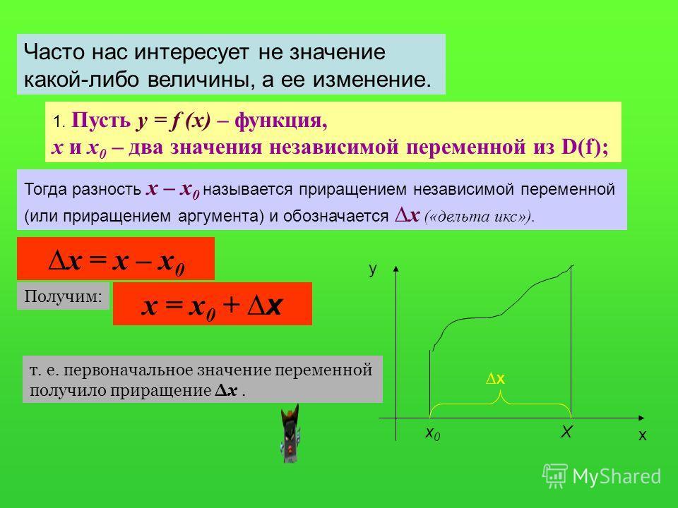 Часто нас интересует не значение какой-либо величины, а ее изменение. 1. Пусть y = f (x) – функция, х и х 0 – два значения независимой переменной из D(f); Тогда разность х – х 0 называется приращением независимой переменной (или приращением аргумента