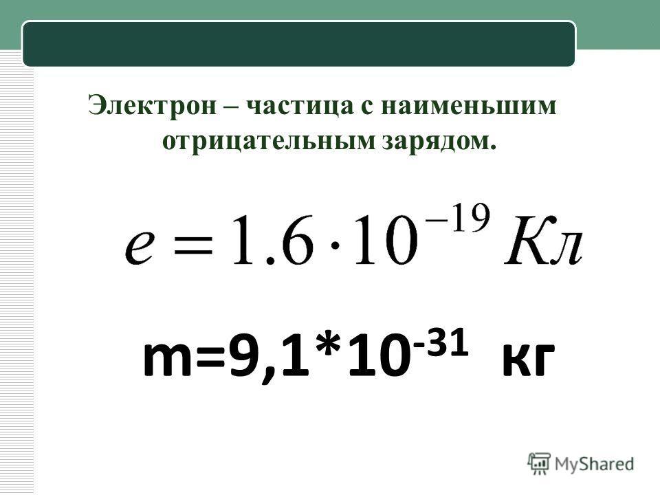 Электрон – частица с наименьшим отрицательным зарядом. m=9,1*10 -31 кг