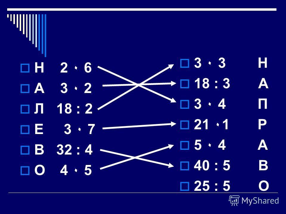 Н 2 ٠ 6 А 3 ٠ 2 Л 18 : 2 Е 3 ٠ 7 В 32 : 4 О 4 ٠ 5 3 ٠ 3 Н 18 : 3 А 3 ٠ 4 П 21 ٠1 Р 5 ٠ 4 А 40 : 5 В 25 : 5 О