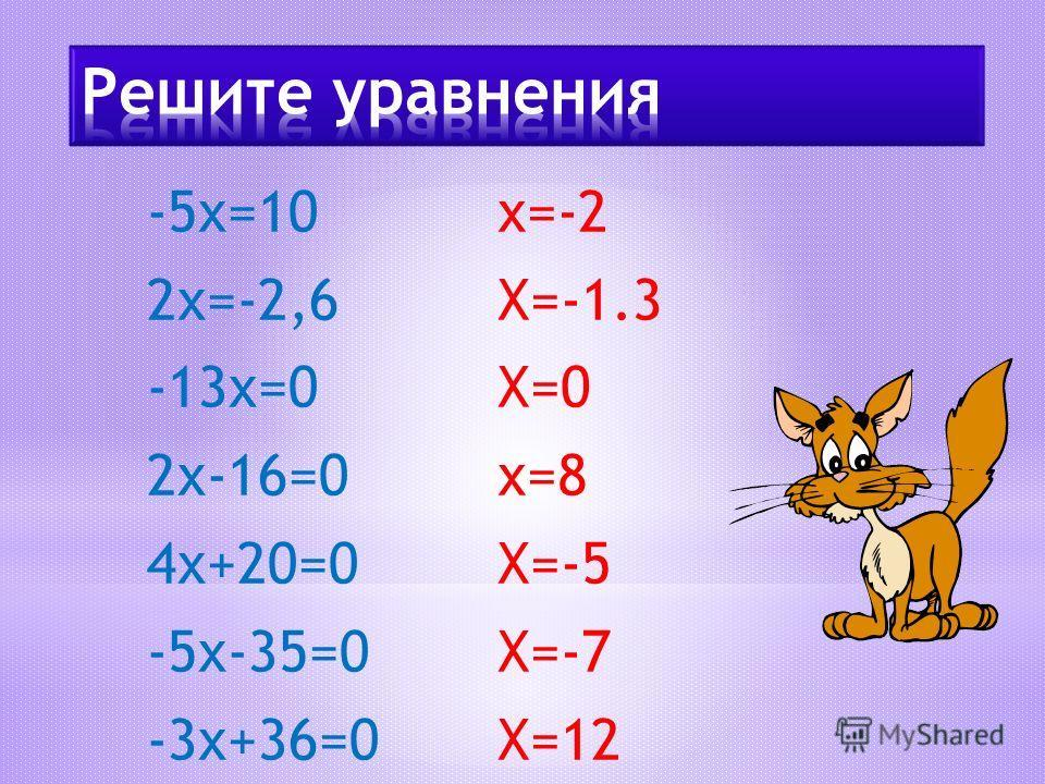 -5х=10 2х=-2,6 -13х=0 2х-16=0 4х+20=0 -5х-35=0 -3х+36=0 х=-2 Х=-1.3 Х=0 х=8 Х=-5 Х=-7 Х=12