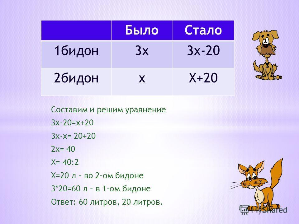 Составим и решим уравнение 3х-20=х+20 3х-х= 20+20 2х= 40 Х= 40:2 Х=20 л – во 2–ом бидоне 3*20=60 л – в 1-ом бидоне Ответ: 60 литров, 20 литров. БылоСтало 1бидон3х3х-20 2бидонхХ+20