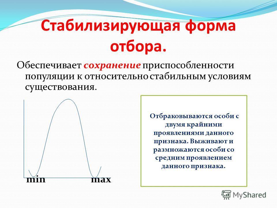 Стабилизирующая форма отбора. Обеспечивает сохранение приспособленности популяции к относительно стабильным условиям существования. min max Отбраковываются особи с двумя крайними проявлениями данного признака. Выживают и размножаются особи со средним