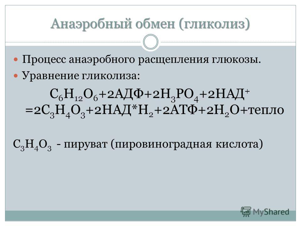 Анаэробный обмен (гликолиз) Процесс анаэробного расщепления глюкозы. Уравнение гликолиза: С 6 Н 12 О 6 +2АДФ+2Н 3 РО 4 +2НАД + =2С 3 Н 4 О 3 +2НАД*Н 2 +2АТФ+2Н 2 О+тепло С 3 Н 4 О 3 - пируват (пировиноградная кислота)
