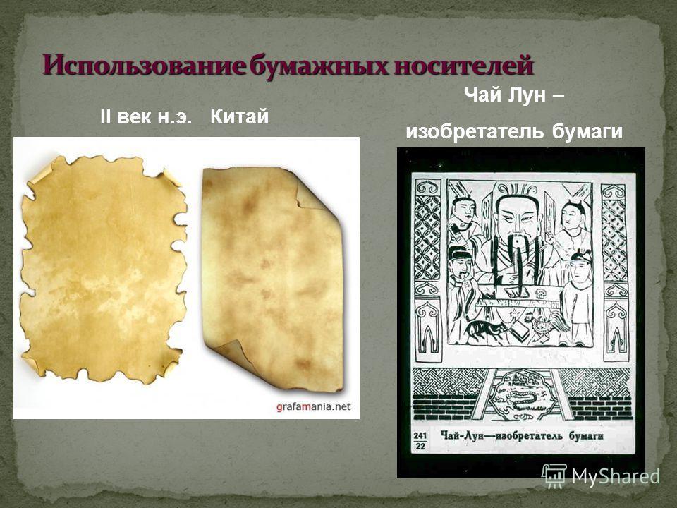 II век н.э. Китай Чай Лун – изобретатель бумаги