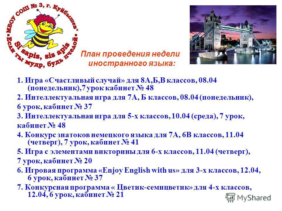 План проведения недели иностранного языка: 1. Игра «Счастливый случай» для 8А,Б,В классов, 08.04 (понедельник),7 урок кабинет 48 2. Интеллектуальная игра для 7А, Б классов, 08.04 (понедельник), 6 урок, кабинет 37 3. Интеллектуальная игра для 5-х клас