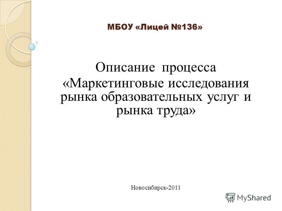 МБОУ «Лицей 136» Описание процесса «Маркетинговые исследования рынка образовательных услуг и рынка труда» Новосибирск-2011