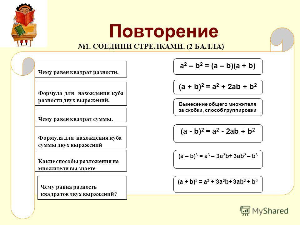 Повторение Чему равен квадрат суммы. Чему равен квадрат разности. Формула для нахождения куба разности двух выражений. Формула для нахождения куба суммы двух выражений Какие способы разложения на множители вы знаете Чему равна разность квадратов двух