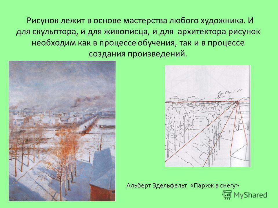 Рисунок лежит в основе мастерства любого художника. И для скульптора, и для живописца, и для архитектора рисунок необходим как в процессе обучения, так и в процессе создания произведений. Альберт Эдельфельт «Париж в снегу»