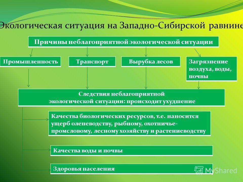 Экологическая ситуация на Западно-Сибирской равнине Причины неблагоприятной экологической ситуации ПромышленностьТранспортВырубка лесов Загрязнение воздуха, воды, почвы Следствия неблагоприятной экологической ситуации: происходит ухудшение Качества б