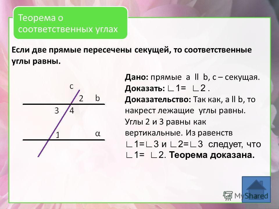 Если две прямые пересечены секущей, то соответственные углы равны. Теорема о соответственных углах Дано: прямые a ll b, с – секущая. Доказать: 1= 2. Доказательство: Так как, а ll b, то накрест лежащие углы равны. Углы 2 и 3 равны как вертикальные. Из